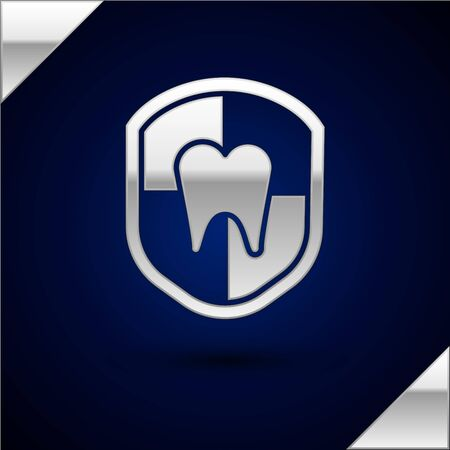 Silver Dental protection icon isolated on dark blue background. Tooth on shield. Vector Illustration