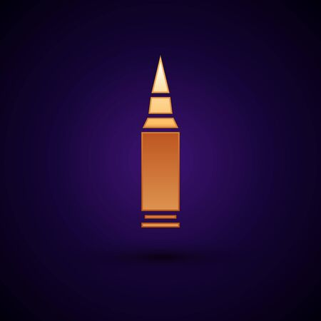Gold Bullet icon isolated on dark blue background. Vector Illustration