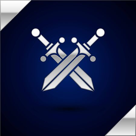 Silver Crossed medieval sword icon isolated on dark blue background. Vector Illustration Vettoriali