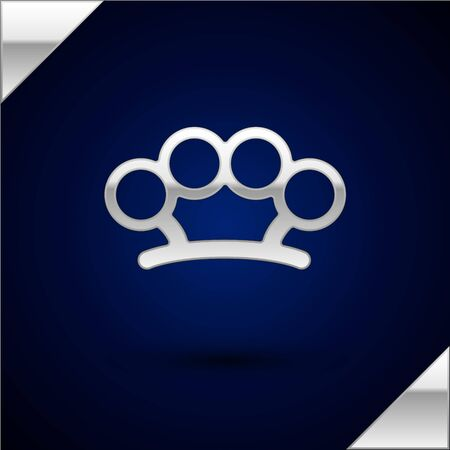 Silver Brass knuckles icon isolated on dark blue background. Vector Illustration