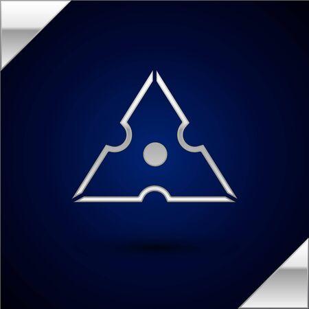 Silver Japanese ninja shuriken icon isolated on dark blue background. Vector Illustration