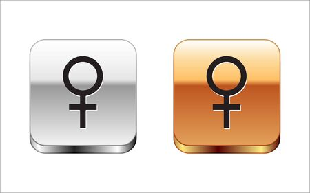 Black Female gender symbol icon isolated on white background. Venus symbol. The symbol for a female organism or woman. Silver-gold square button. Vector Illustration