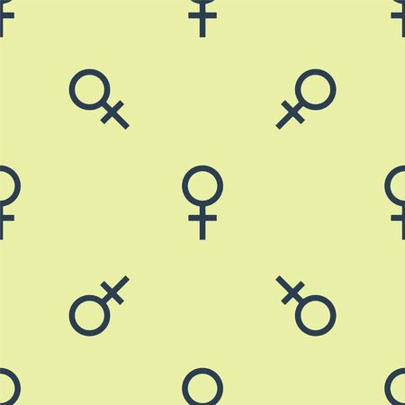 Blue Female gender symbol icon isolated seamless pattern on yellow background. Venus symbol. The symbol for a female organism or woman. Vector Illustration Ilustrace