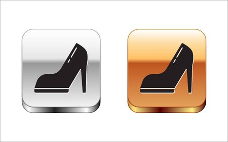 Black Woman shoe with high heel icon isolated on white background. Silver-gold square button. Vector Illustration Stock Illustratie