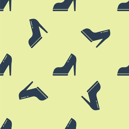Blue Woman shoe with high heel icon isolated seamless pattern on yellow background. Vector Illustration