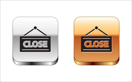 Black Hanging sign with text Closed icon isolated on white background. Business theme for cafe or restaurant. Silver-gold square button. Vector Illustration Stock Illustratie