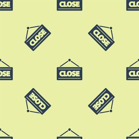 Blue Hanging sign with text Closed icon isolated seamless pattern on yellow background. Business theme for cafe or restaurant. Vector Illustration