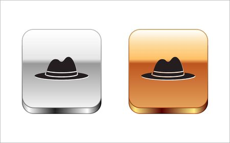 Black Man hat with ribbon icon isolated on white background. Silver-gold square button. Vector Illustration