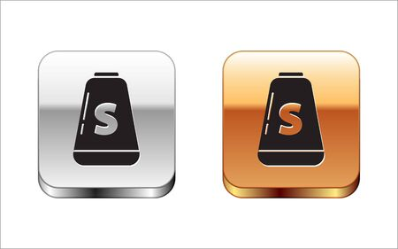 Black Salt icon isolated on white background. Cooking spices. Silver-gold square button. Vector Illustration