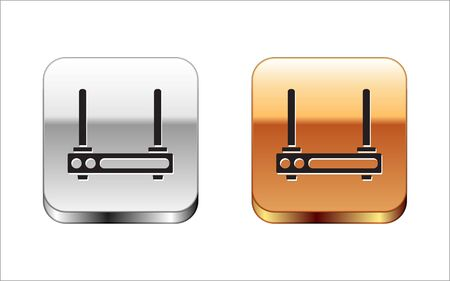 Black Router and wi-fi signal symbol icon isolated on white background. Wireless ethernet modem router. Computer technology internet. Silver-gold square button. Vector Illustration