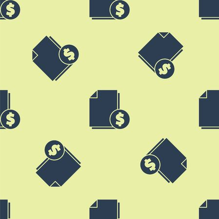 Blue Finance document icon isolated seamless pattern on yellow background. Paper bank document with dollar coin for invoice or bill concept. Vector Illustration