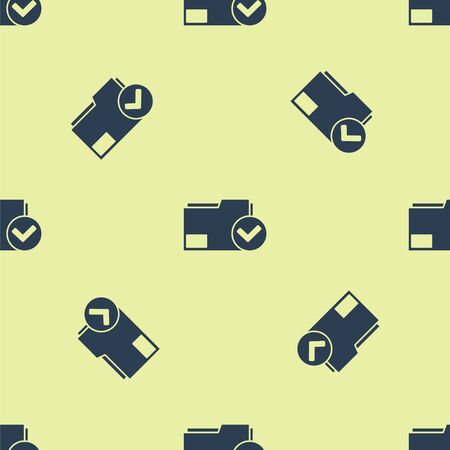 Blue Document folder and check mark icon isolated seamless pattern on yellow background. Checklist icon. Business concept. Vector Illustration