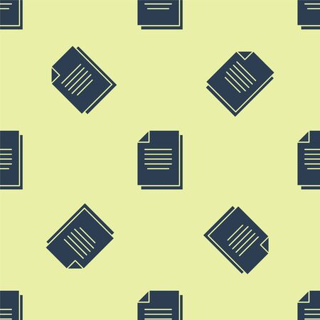 Blue Document icon isolated seamless pattern on yellow background. File icon. Checklist icon. Business concept. Vector Illustration