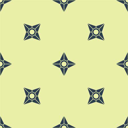 Blue Japanese ninja shuriken icon isolated seamless pattern on yellow background. Vector Illustration