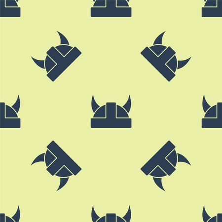 Blue Viking in horned helmet icon isolated seamless pattern on yellow background. Vector Illustration