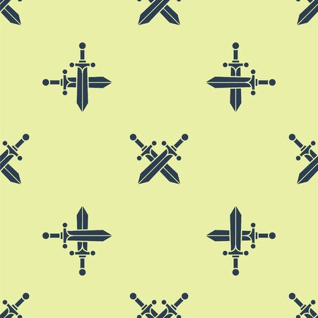 Crossed medieval sword icon isolated seamless pattern on yellow background. Vector Illustration