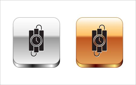 Black Detonate dynamite bomb stick and timer clock icon isolated on white background. Time bomb - explosion danger concept. Silver-gold square button. Vector Illustration Vettoriali