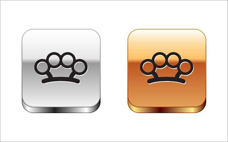 Black Brass knuckles icon isolated on white background. Silver-gold square button. Vector Illustration