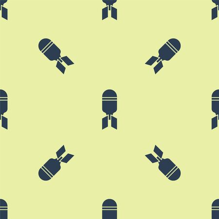 Blue Aviation bomb icon isolated seamless pattern on yellow background. Rocket bomb flies down. Vector Illustration Vettoriali