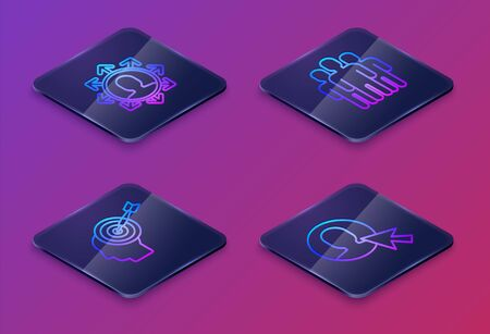 Set Isometric line Project team base, Head hunting concept, Users group and User of man in business suit. Blue square button. Vector
