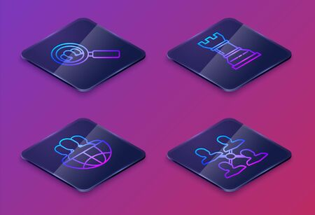 Set Isometric line Magnifying glass for search a people, Globe and people, Business strategy and Project team base. Blue square button. Vector