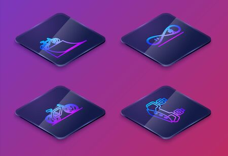 Set Isometric line Bicycle on street ramp, Bicycle, Skateboard trick and Knee pads. Blue square button. Vector