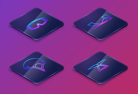 Set Isometric line Ski goggles, Helmet, Skate park and Hang glider. Blue square button. Vector