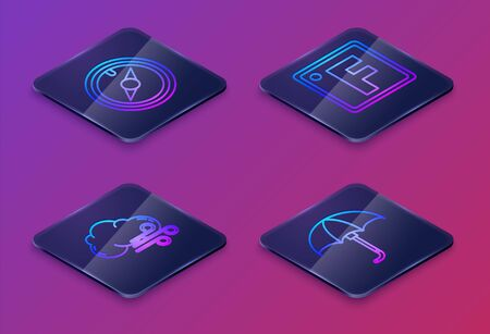 Set Isometric line Wind rose, Windy weather, Fahrenheit and Classic elegant opened umbrella. Blue square button. Vector