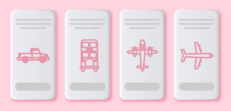 Set line Pickup truck, Double decker bus, Old retro vintage plane and Plane. White rectangle button. Vector
