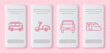 Set line Retro minivan, Scooter, Pickup truck and Train. White rectangle button. Vector Illustration