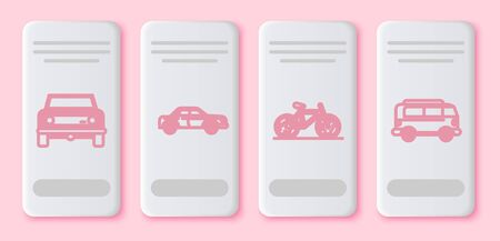 Set line Off road car, Sedan car, Bicycle and Retro minivan. White rectangle button. Vector Illustration