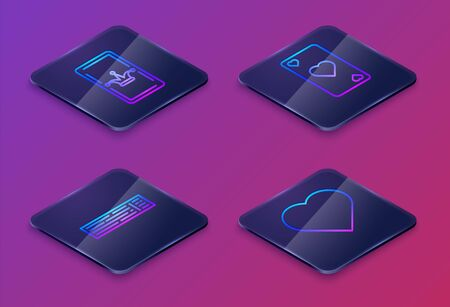 Set Isometric line Joker playing card, Deck of playing cards, Playing card with heart symbol and Playing card with heart symbol. Blue square button. Vector 向量圖像
