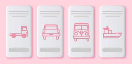 Set line Delivery cargo truck vehicle, Pickup truck, Retro minivan and Cargo ship. White rectangle button. Vector Illustration
