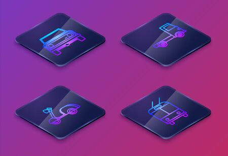 Set Isometric line Off road car, Scooter, Delivery cargo truck vehicle and Trolleybus. Blue square button. Vector