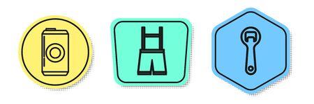 Set line Beer can, Lederhosen and Bottle opener. Colored shapes. Vector Illustration
