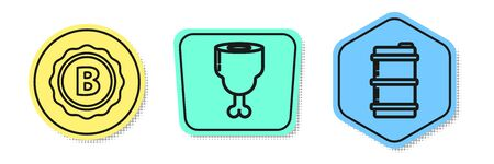 Set line Bottle cap with inscription beer, Chicken leg and Metal beer keg. Colored shapes. Vector