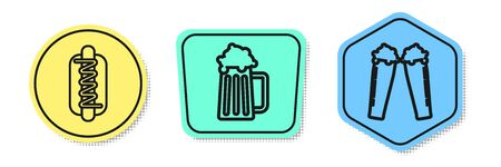 Set line Hotdog sandwich with mustard, Wooden beer mug and Glass of beer. Colored shapes. Vector Vettoriali
