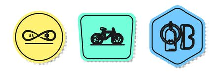 Set line Skateboard trick, Bicycle and Diving mask and aqualung. Colored shapes. Vector Vectores