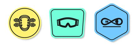 Set line Knee pads, Ski goggles and Skateboard trick. Colored shapes. Vector