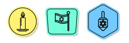 Set line Burning candle in candlestick, Flag of Israel and Hanukkah dreidel. Colored shapes. Vector