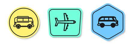 Set line Retro minivan, Plane and Retro minivan. Colored shapes. Vector Illustration