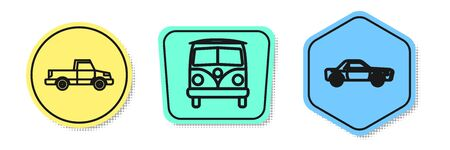 Set line Pickup truck, Retro minivan and Sedan car. Colored shapes. Vector Illustration