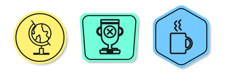 Set line Earth globe, Award cup and Coffee cup. Colored shapes. Vector