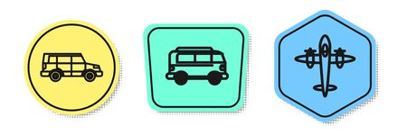 Set line Off road car, Retro minivan and Old retro vintage plane. Colored shapes. Vector