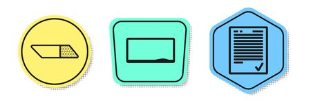 Set line Eraser or rubber, Chalkboard and Exam sheet with check mark. Colored shapes. Vector Vector Illustration