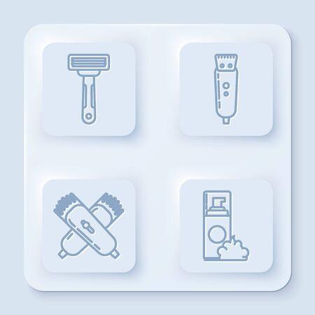 Set line Shaving razor, Electrical hair clipper or shaver, Crossed electrical hair clipper or shaver and Shaving gel foam. White square button. Vector Vettoriali