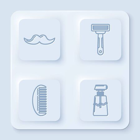 Set line Mustache, Shaving razor, Hairbrush and Cream or lotion cosmetic tube. White square button. Vector Vettoriali