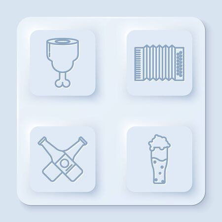 Set line Chicken leg, Musical instrument accordion, Crossed beer bottle and Glass of beer. White square button. Vector