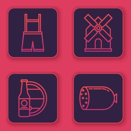 Set line Lederhosen, Beer bottle and wooden barrel, Windmill and Salami sausage. Blue square button. Vector