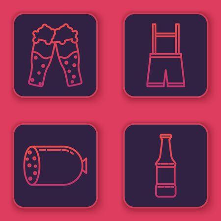 Set line Glass of beer, Salami sausage, Lederhosen and Beer bottle. Blue square button. Vector